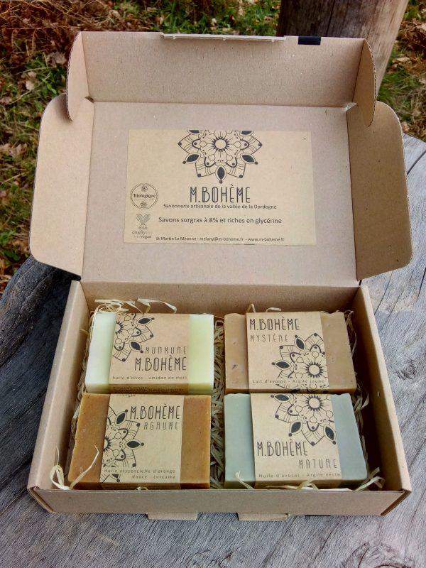 coffret cadeau 4 savons saponification à froid vegan végane cadeau minimaliste et bio